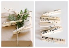 Stamped Clothespin Gift Tags