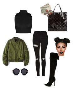 """""""Untitled #278"""" by sherie-lover ❤ liked on Polyvore featuring WearAll, Karen Walker, Shoe Republic LA, Topshop, Bao Bao by Issey Miyake and Lime Crime"""