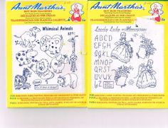 SO SWEET Aunt Martha's Iron on Embroidery Transfers,  Animals Ladies Flowers $5.25