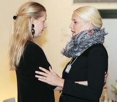 Crown Princess Mette-Marit of Norway greets Princess Mabel of the Netherlands at the World Economic Forum at Davos, Switzerland 1/23/2014