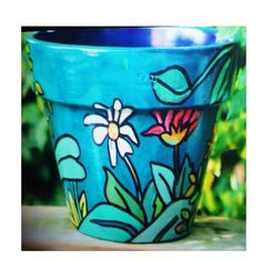 Items similar to Spring Flowers - Original Hand Painted Flower Pot on Etsy Ceramic Pots, Terracotta Pots, Clay Pots, Painted Mugs, Hand Painted Ceramics, Decoupage, Pottery Painting, Pottery Art, Clay Pot Projects