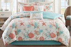 Madison Park MP10-2704 Pebble Beach 7Piece Comforter Set Queen , Coral , Queen,Coral,Queen