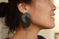 Large Steel Circle Posts by Maia Leppo: Steel Earrings available at www.artfulhome.com