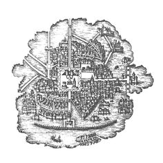 Engraving of a pre-Columbian water-based Mexico City on the lake engraved by Franz Hogenberg for Georg Braun's extensive 'Civitates orbis terrarum' collection depicting many cities around the world City Drawing, Orbis, Mexico City, Maps, Cities, Around The Worlds, Architecture, Drawings, Water