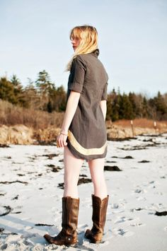 organic cotton black and bronze shirt dress. $125.00, via Etsy.