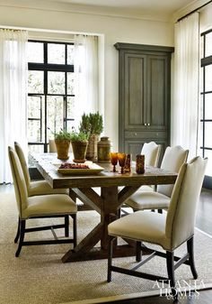Earthy velvet dining room