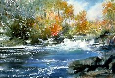 First Color by Nita Engle and a complete listing of her other watercolor art prints and images for sale can be found at Christ-Centered Art. Watercolor Landscape Paintings, Watercolor Trees, Watercolor Artists, Watercolor Techniques, Watercolor And Ink, Landscape Art, Art Aquarelle, Wow Art, Art Plastique