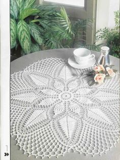 "Round White Lace Crocheted Doily ""Achievement""  $26"
