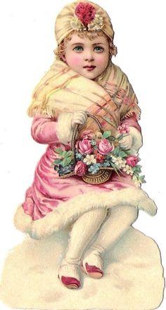 Oblaten Glanzbild scrap die cut Kind  13cm  Winter child Schnee Rose Mädchen  | eBay: