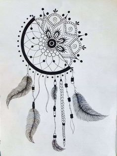 Catches dream drawing - how to make the drawing dream catcher! - Art and Literature Dream Catcher Drawing, Dream Drawing, Dream Catcher Tattoo, Doodle Art Drawing, Mandala Drawing, Black Pen Drawing, Feather Drawing, Art Drawings Sketches Simple, Pencil Art Drawings