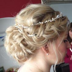 Wedding hair by Lisa Cameron Boho bridal braid up do Bride hair ideas Bridesmaid plaits hair up.