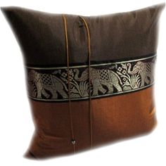 Double 2 Beautiful Big Elephant Throw Cushion Cover//Pillow CASE Handmade by Thai Silk and Cotton for Decorative Sofa CAR and Living Room Size 16 X 16 INCHES