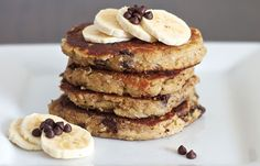 Who needs grains when you can have chocolate chip banana paleo pancakes? #paleo #pancakes #chocolate