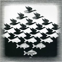 Escher M Optical Illusion Art | ... And Fish Pattern - A optical illusion m c escher art wallpaper picture