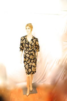 Dana Buchman Wrap Dress Brown Silk Floral w by ThriftHound2000, $38.00