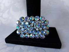 Your place to buy and sell all things handmade Periwinkle Blue, Purple, Pink, Crystal Brooch, Something Blue, Aurora Borealis, Blue Crystals, Vintage Jewelry, Diamond