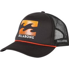 Billabong Unisex Amped Trucker Hat ($20) ❤ liked on Polyvore featuring accessories, hats, black orange, truck caps, logo trucker hats, snapback trucker hats, mesh back hats and snapback trucker cap