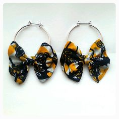 African hoop bow Earrings by CrisckaaFashion on Etsy, Diy African Jewelry, African Accessories, African Earrings, Handmade Accessories, Diy Earrings Dangle, Custom Earrings, Earrings Handmade, Diy Fabric Jewellery, Fabric Earrings