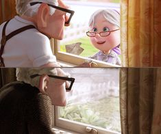 "A pinner wrote...""The second I saw this photo my heart broke, and only five seconds later, I realized that if you look carefully, you can see Ellie's reflection in the window of the second panel.""...<3"