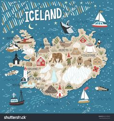 Vector stylized map of Iceland. Travel illustration with Iceland landmarks people animals and nature places Travel Log, Travel Maps, Iceland Travel, Map Of Iceland, Greenland Travel, Travel Illustration, Portrait Illustration, Map Design, City Maps