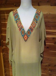 f9ec53e27b Women's swim cover up in pale green georgette with embroidery on neck on  Etsy, £