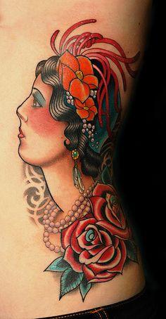 Flapper Tattoo by Russ Abbott from Ink and Dagger Tattoos