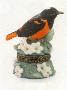 Porcelain hinged Box Bird Baltimore Oriole MIB