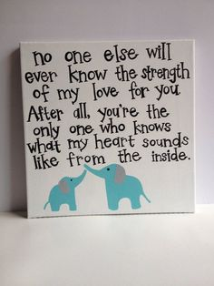 Aqua Elephant nursery art with quote, made to match bedding