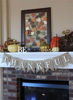 Be thankful thanksgiving mantel and gratitude frame