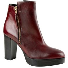 Carvela Kurt Geiger Supremo Ankle Boot ($230) ❤ liked on Polyvore featuring shoes, boots, ankle booties, side zip boots, red ankle boots, red short boots, side zip ankle boots and high platform boots