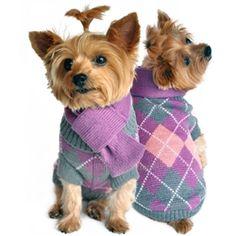 Argyle Purple Plaid Dog Sweater with Scarf- Apparel - Sweater Posh Puppy Boutique