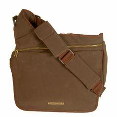 Diaper Dude Messenger Diaper Bag in Brown Faux Suede