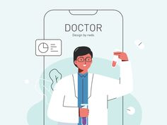 Doctor designed by Rwds. Connect with them on Dribbble; the global community for designers and creative professionals. Simple Illustration, Medical Illustration, Character Illustration, Graphic Design Illustration, Digital Illustration, Website Illustration, Doctor Drawing, Pharmacy Design, Medical Icon