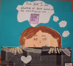 Self portraits with dreams. Great beginning of the year idea from Field Elementary Art Blog.