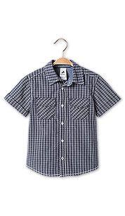 Camicia man. corte in blu scuro