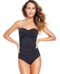 Anne Cole Twisted-Front Bandeau One-Piece Swimsuit - Swimwear - Women - Macy's