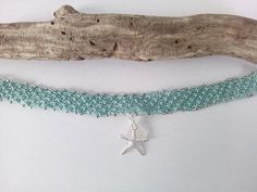 sea glass micro macrame beaded lace choker with silver starfish Sea Glass Necklace, Sea Glass Jewelry, Turtle Earrings, Mermaid Pendant, Micro Macrame, Macrame Knots, Pagan Jewelry, Glass Butterfly, Silver Beads