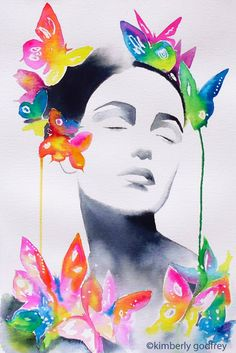 Fine Art Print of my original watercolour portrait in vivid hues of opera pink, purple, teal, yellow and fuschia  title: Butterfly 1  Direct from
