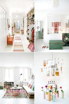 Selon l'habitude scandinave, un appartement à dominante blanche, vraiment lumineux, et égayé par des touches de couleurs vives...Une belle découverte. Phot