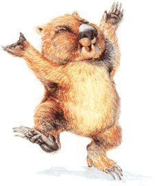happy wombat! Australian Animals, Beavers, Wombat, Hedgehogs, Book Illustrations, Animal Nursery, Wallis, Animals Of The World, Xmas Ideas