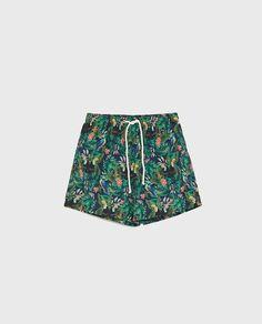5c9f488795 Image 1 of TROPICAL PRINT SWIM TRUNKS from Zara Zara United Kingdom, Men's  Swimsuits,