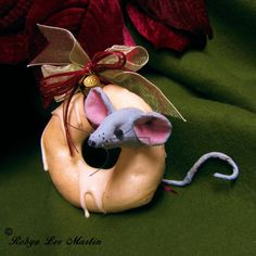 Primitive Mouse Ornament. Mouse is made of muslin that is sewn,stuffed sculpted, painted and has glass bead eyes with a cute bum-bum poking out $ `15.00 + Shipping on Etsy