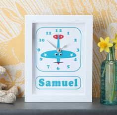 Personalised Boat, Train, Tractor Clocks by StripeyCats, the perfect gift for Explore more unique gifts in our curated marketplace. Telling Time, Gifts For Boys, Clocks, Playroom, Unique Gifts, Nursery, Boat, Train, Fun