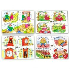 Contains 4 hand cut wooden jigsaw puzzles featuring popular Each jigsaw has 12 chunky pieces. Includes: Hickory Dickory Dock Jack and Jill Little Miss Muffet Humpty Dumpty Size: 19 x