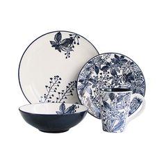 American Atelier Floral Indigo 16-piece Dinnerware Set | Overstock.com Shopping - The Best Deals on Casual Dinnerware