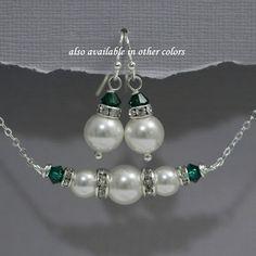 Dark Green Wedding Jewelry Set, Swarovski White Pearl and Emerald Green Wedding Jewelry Set, Personalized Bridesmaid Gift Ideas, Emerald