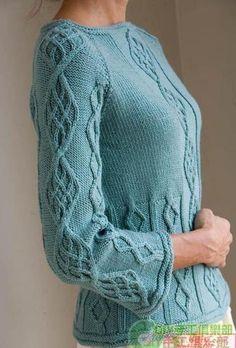 Бирюзовый пуловер аранами