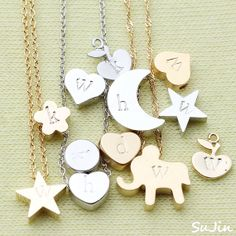 Matte Stamped Initial Necklace Your Choice by SujinSimpleChic, $16.00