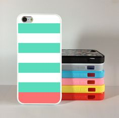 Stripe iphone 5 case Rubber iphone 5g caseblue and pink by Gift8, $6.99