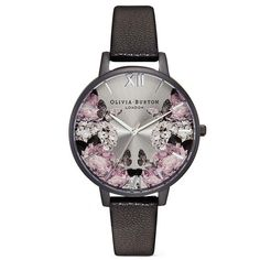 Olivia Burton 'After Dark' floral print 38mm watch ($69) ❤ liked on Polyvore featuring jewelry, watches, buckle jewelry, olivia burton watches, stainless steel jewelry, stainless steel wrist watch and monarch butterfly jewelry
